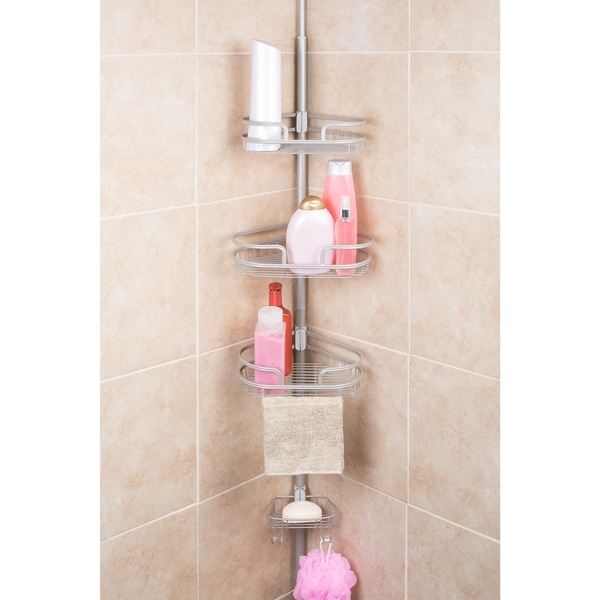 Bathtub Shower Tension Corner Pole Caddy With 3 Baskets and Soap ...