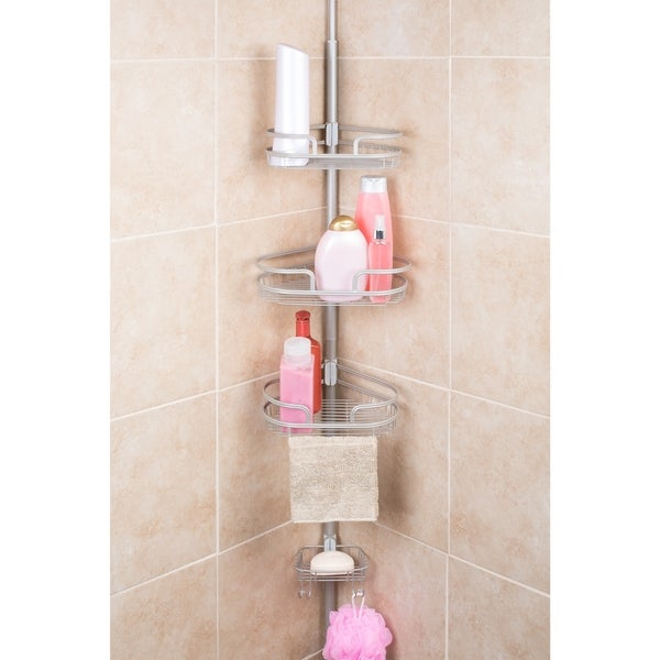 Bathtub Shower Tension Corner Pole Caddy With 3 Baskets And Soap Dish