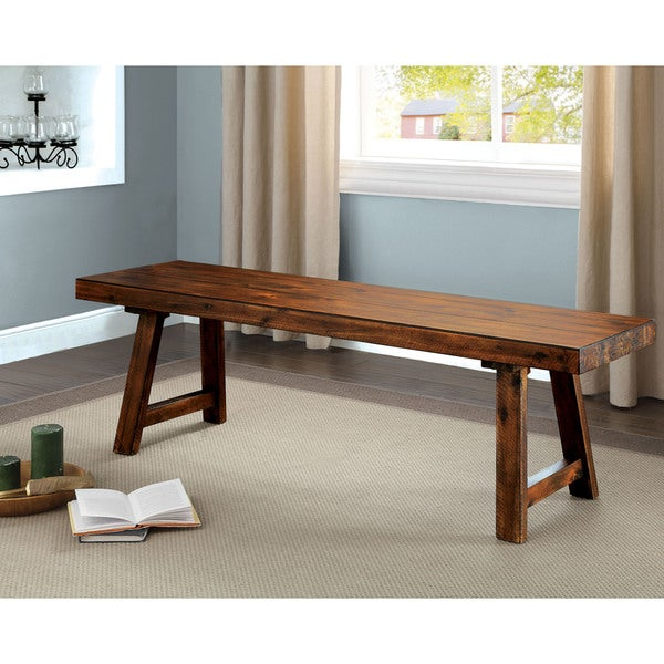 Shop Furniture Of America Norris Rustic Walnut 58 Inch Wooden Bench