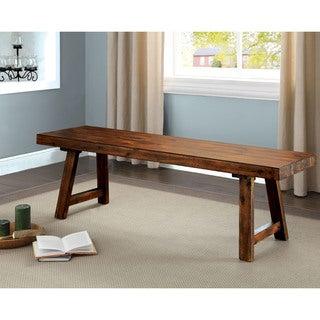 Furniture of America Norris Rustic Walnut 58-inch Wooden Bench