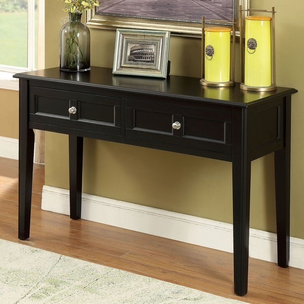 Wilkens Transitional Black 2-drawer Sofa Table by FOA