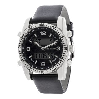 Steve Madden Analog and Digital Leather Watch