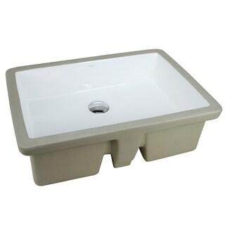 LARGE ARIEL 22 Inch Rectangular Undermount Vitreous Ceramic Lavatory Vanity Bathroom Sink Pure White