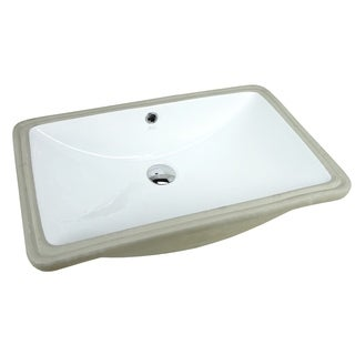 Super Large ARIEL 24 Inch Rectangular Undermount Vitreous Ceramic Lavatory Vanity Bathroom Sink Pure White