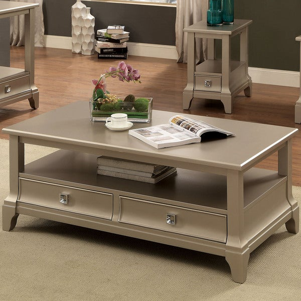 Coffee Table With Drawers Sale: Shop Furniture Of America Buffetta Contemporary Silver 2