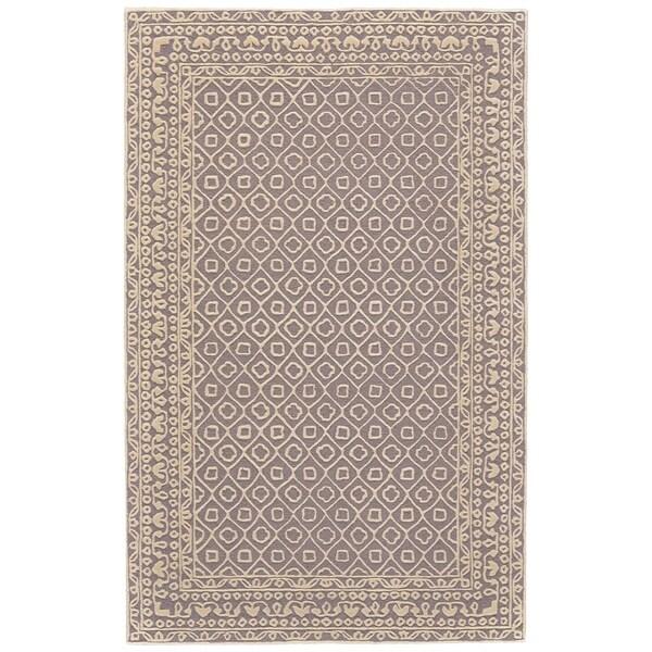 """Grand Bazaar Eckels Dark Gray/ Ivory Wool Rug - 3'6"""" x 5'6"""""""