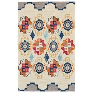 """Grand Bazaar Fariza Blue/ Magenta Wool Rug - 3'6"""" x 5'6"""""""