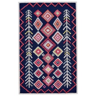 "Grand Bazaar Awareh Navy/ Multi Wool Rug (3'6 X 5'6) - 3'6"" x 5'6"""