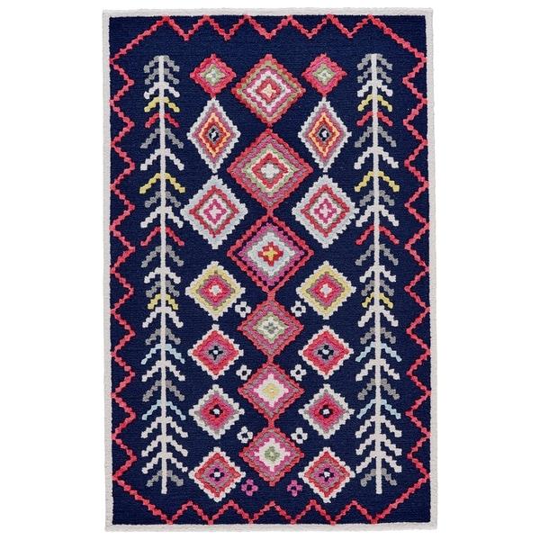 "Grand Bazaar Awareh Navy/ Multi Wool Rug (3'6 X 5'6) - 3'6"" x 5'6"""