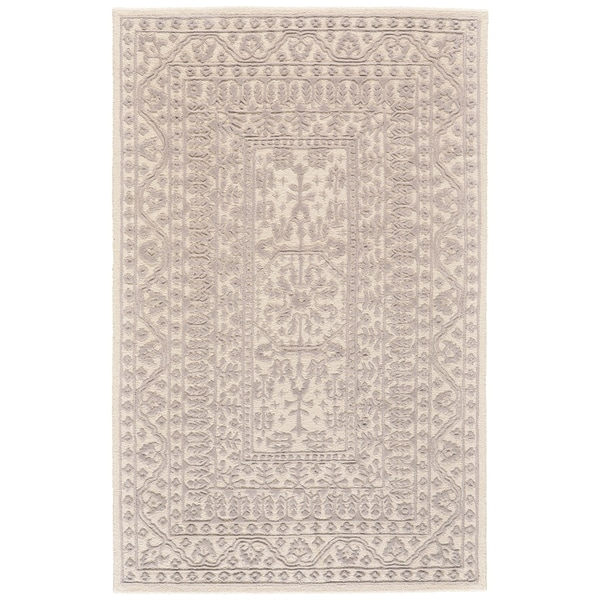 "Grand Bazaar Eckels Ivory/ Light Gray Wool Rug - 3'6"" x 5'6"""