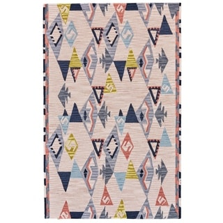 """Grand Bazaar Fariza Light Pink/ Gray Wool Rug - 3'6"""" x 5'6"""""""