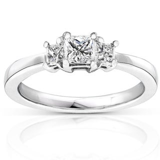 Annello by Kobelli 14k Gold 1/2ct TDW Princess Diamond 3-stone Ring (H-I, I1-I2)