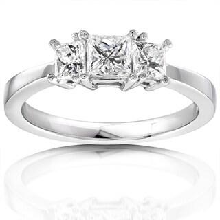 Annello by Kobelli 14k Gold 3/4ct TDW Diamond 3-stone Engagement Ring (H-I, I1-I2)