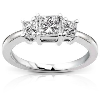 Annello by Kobelli 14k Gold 1ct Princess Diamond 3-stone Ring