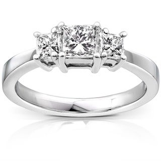 Annello Platinum 1ct TDW Princess Diamond 3-stone Ring