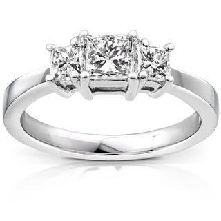 Annello Platinum 1ct TDW Princess Diamond 3-stone Ring|https://ak1.ostkcdn.com/images/products/1980601/P10293899.jpg?impolicy=medium