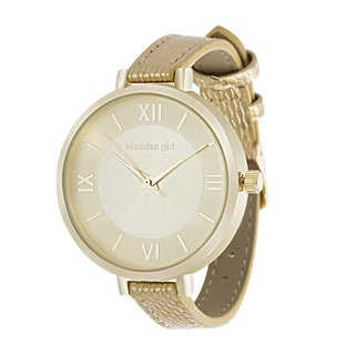 Steve Madden Roman Numeral Dial Gold Leather Strap Watch