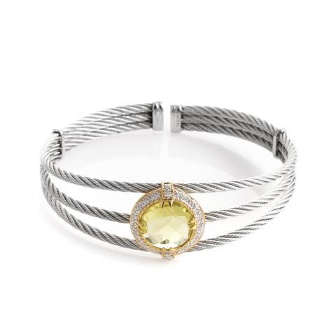 Celtic Cable 18K Stainless Steel Lemon Citrine & Diamond Bangle Bracelet