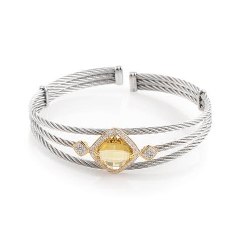 Celtic Cable 18K Stainless Steel Yellow Citrine & Diamond Bangle Bracelet
