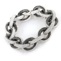 18K White Gold Full Black and White Diamond Pave Link Bracelet