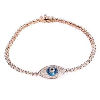 18K Rose Gold Diamond & Topaz Evil Eye Bracelet BT97451RRZ