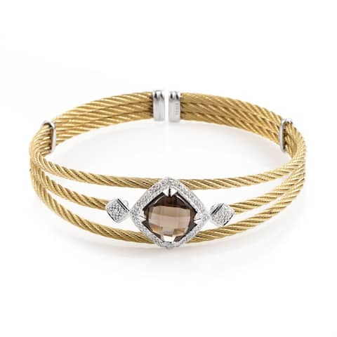 Celtic Cable 18K Treated Stainless Steel Smokey Quartz & Diamond Bangle Bracelet