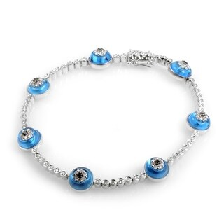 18K White Gold Topaz & Diamond Evil Eye Bracelet BT0019RBZ