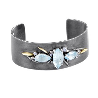 Women's Silver Diamond & Gemstone Cuff Bangle FN41B014