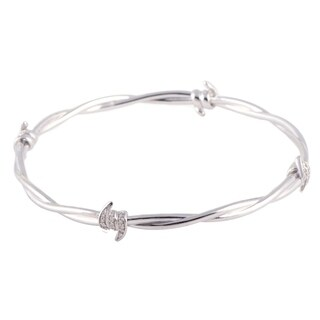 Stephen Webster Forget Me Knot Womens Silver and Diamond Bangle Bracelet