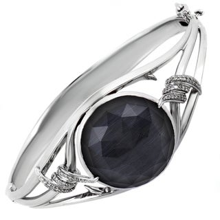 Stephen Webster Forget Me Knot Silver Diamond Cat's Eye Crystal Haze Bangle Bracelet