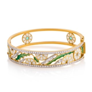 Womens Enameled 18K Yellow Gold Diamond Pave Floral Bangle Bracelet