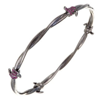 Forget Me Knot Silver Ruby and Diamond Pave Barbed Bangle Bracelet