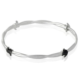 Stephen Webster Forget Me Knot Silver Diamond and Black Sapphire Bangle Bracelet