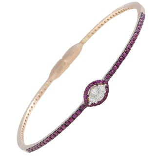 18K Rose Gold Ruby Pave and Diamond Bangle Bracelet