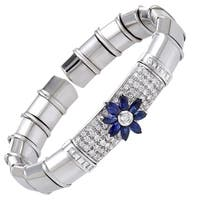 Italian Collection 18K White Gold Diamond and Sapphire Flower Open Bangle Bracelet