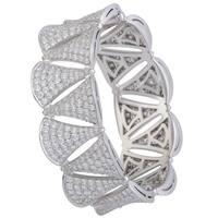 Bvlgari Diva's Dream 18K White Gold Full Diamond Pave Bangle Bracelet