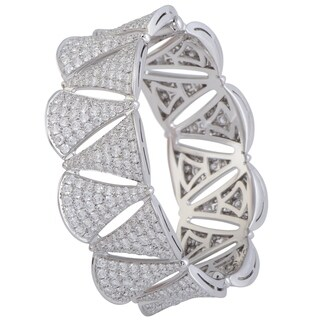 Bvlgari Diva's Dream 18K White Gold Full Diamond Pave Bangle Bracelet