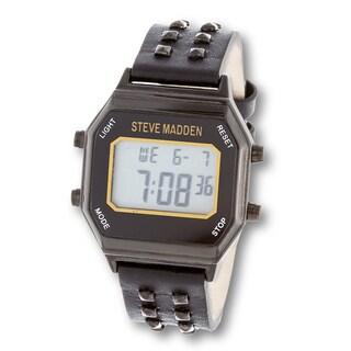 Steve Madden Black Leather Straps Black Stud Digital Watch