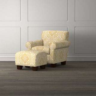 Handy Living Wiggins Gold Damask Arm Chair and Ottoman