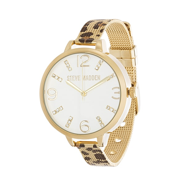 222d1e01e02 Shop Steve Madden Cheetah Print Alloy Mesh Band Watch - Free Shipping On  Orders Over  45 - Overstock.com - 19806817