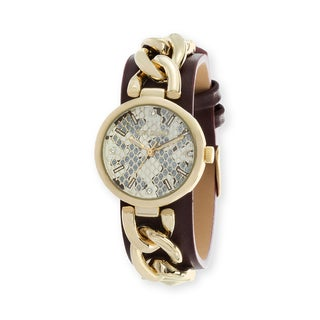 Steve Madden Alloy Curb Chain Burgundy Leather Strap Watch