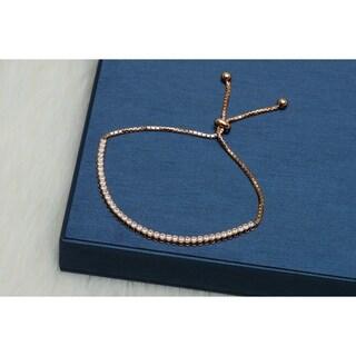 Pori Jewelers 18K Rose Gold plated Sterling Silver Adjustable bracelet with Crystals by Swarovski - Copper
