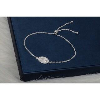 Pori Jewelers Sterling Silver religious Charm Adjustable Bracelet - White