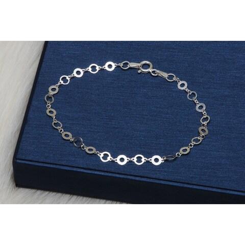 Pori Jewelers Sterling Silver Open Circle bracelet - White