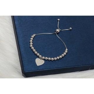 Pori Jewelers Sterling Silver ball wHeart Engravable Charm Adjustable Bracelet - White