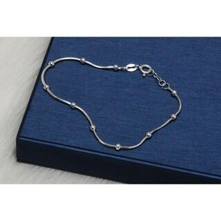 Pori Jewelers Sterling Silver Diamond-cut Snake Chain wStation Ball Bead bracelet - White