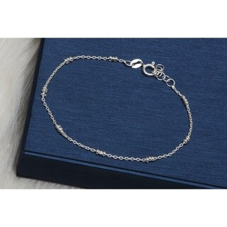 Pori Jewelers Sterling Silver Anchor Chain w3-Ball Station Bracelet - White