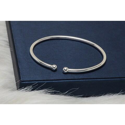 Pori Jewelers Sterling Silver ball Ends Cuff Bangle - White