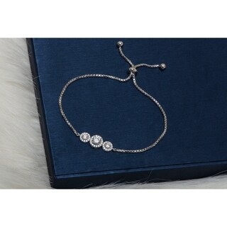 Pori Jewelers Rhodium plated Sterling Silver Adjustable Bracelet with Crystals by Swarovski - White