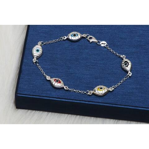 Pori Jewelers Sterling Silver Multicolor Evil Eye Station Bracelet - White